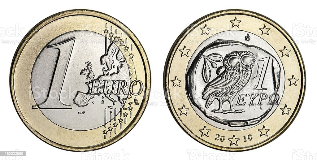Greek One Euro Coin royalty-free stock photo