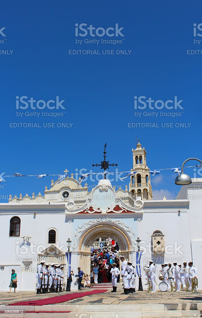 Greek Orthodox Assumption Day in Tinos stock photo