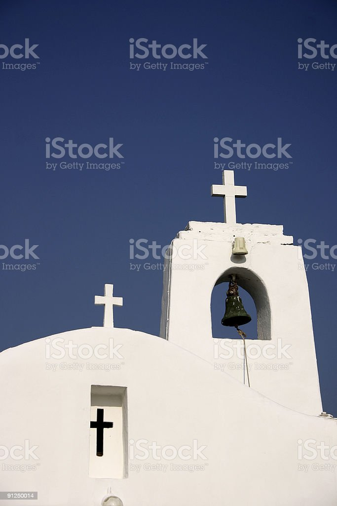Greek orthodox church and cross stock photo