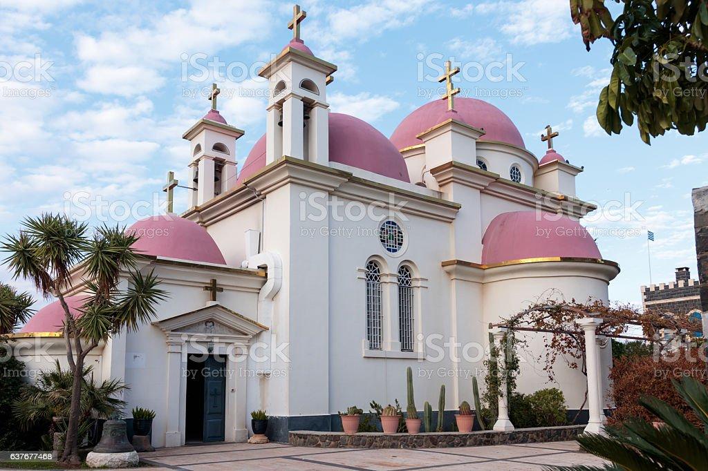 Greek Orthodox monastery of the twelve apostles in Capernaum stock photo