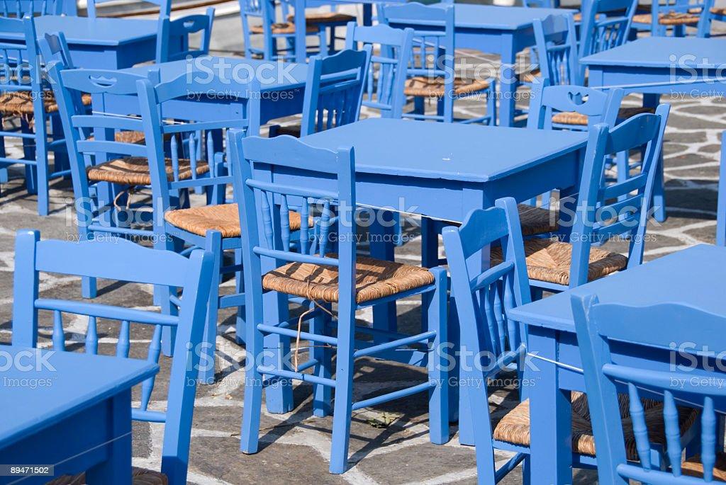 Greek outdoor restaurant royalty-free stock photo