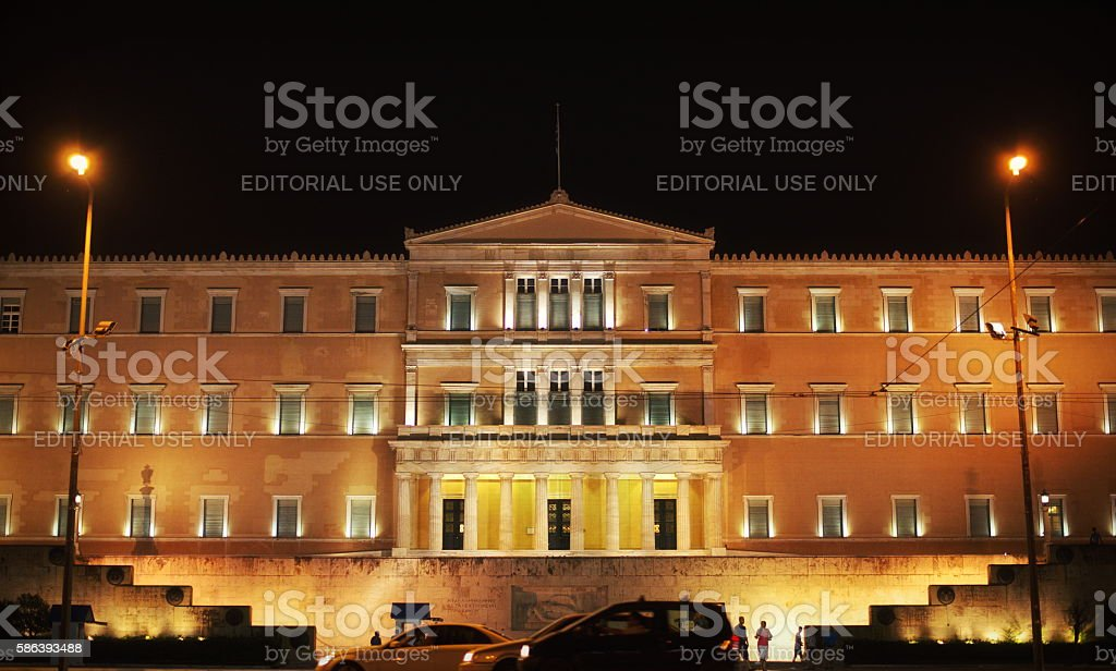 Greek Parliament at night stock photo