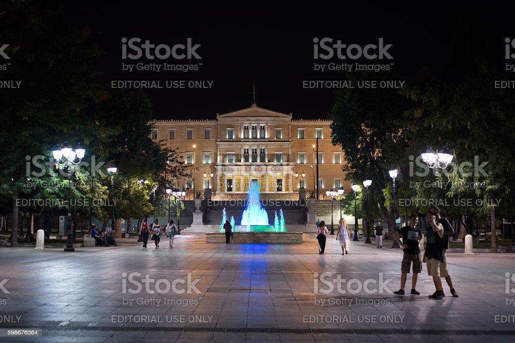 Greek Parliament at night stock photo
