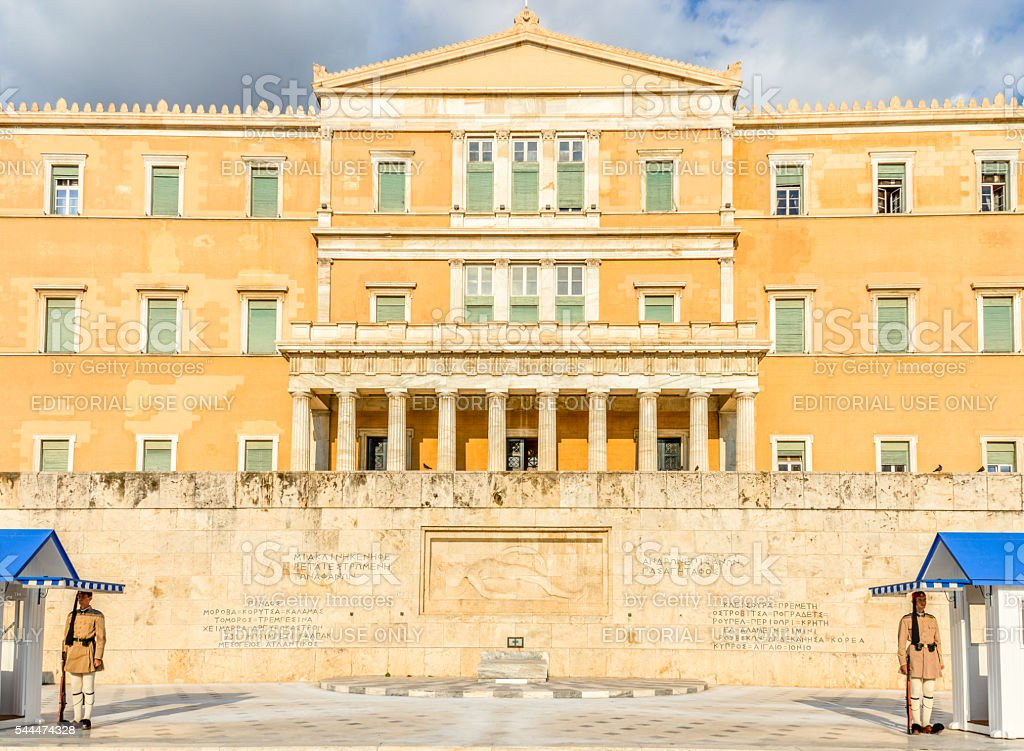 Greek Parliament Building in Athens, Greece stock photo