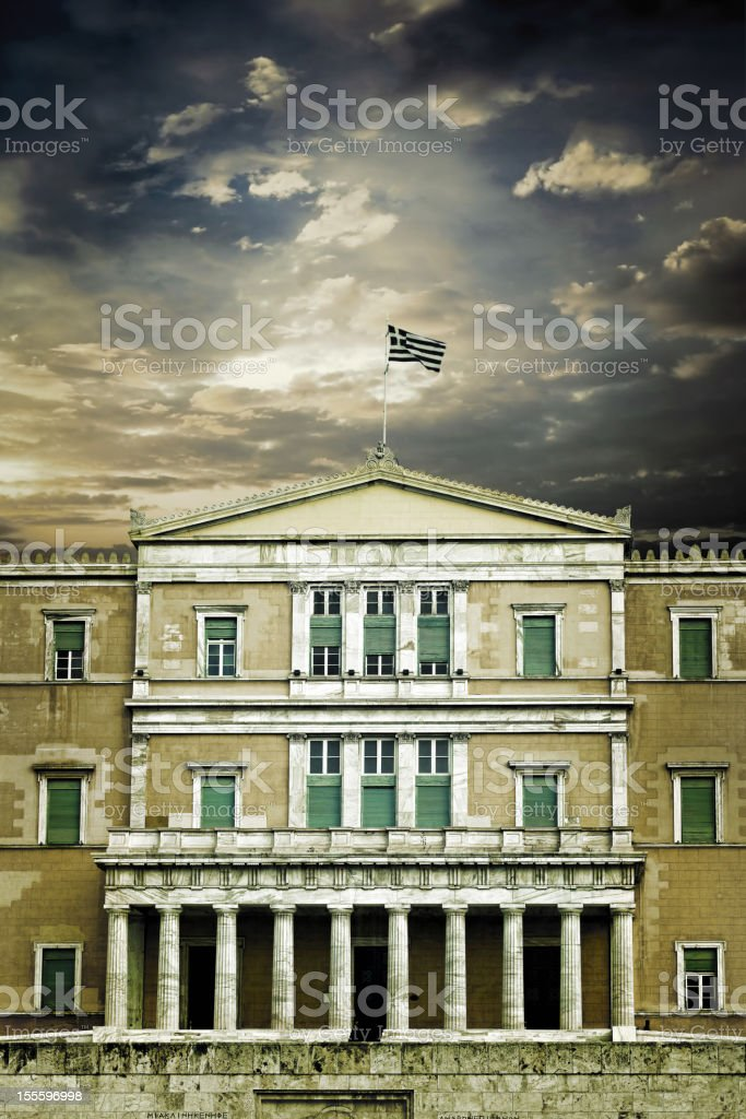 Greek Parliament building under dark sky royalty-free stock photo
