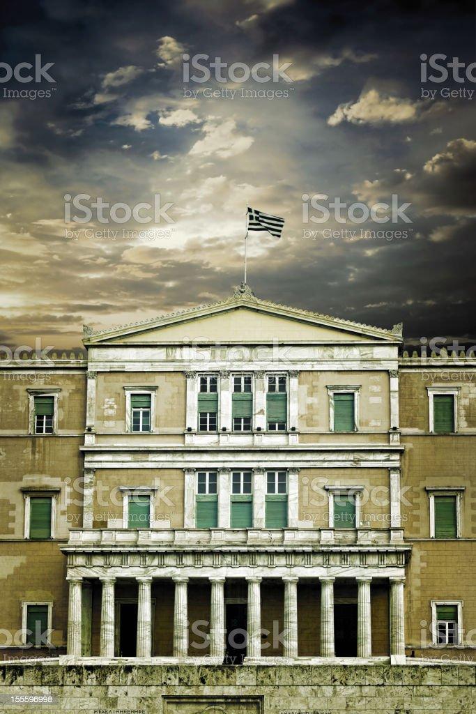 Greek Parliament building under dark sky stock photo