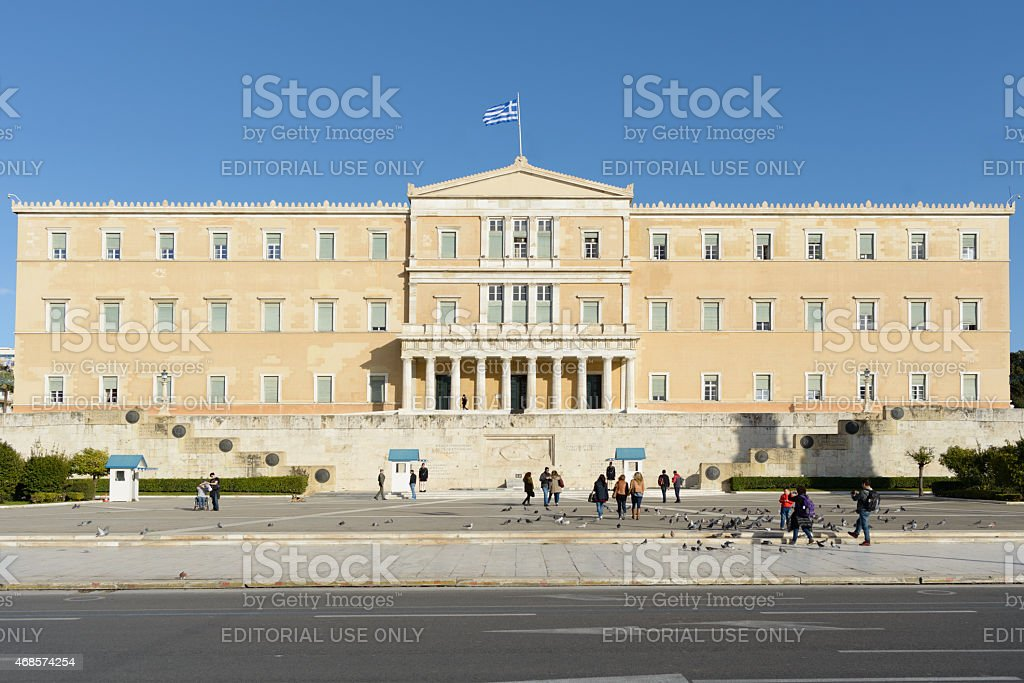 Greek Parliament in Athens stock photo