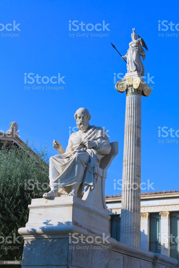 Greek philosopher Plato and Athena statues stock photo