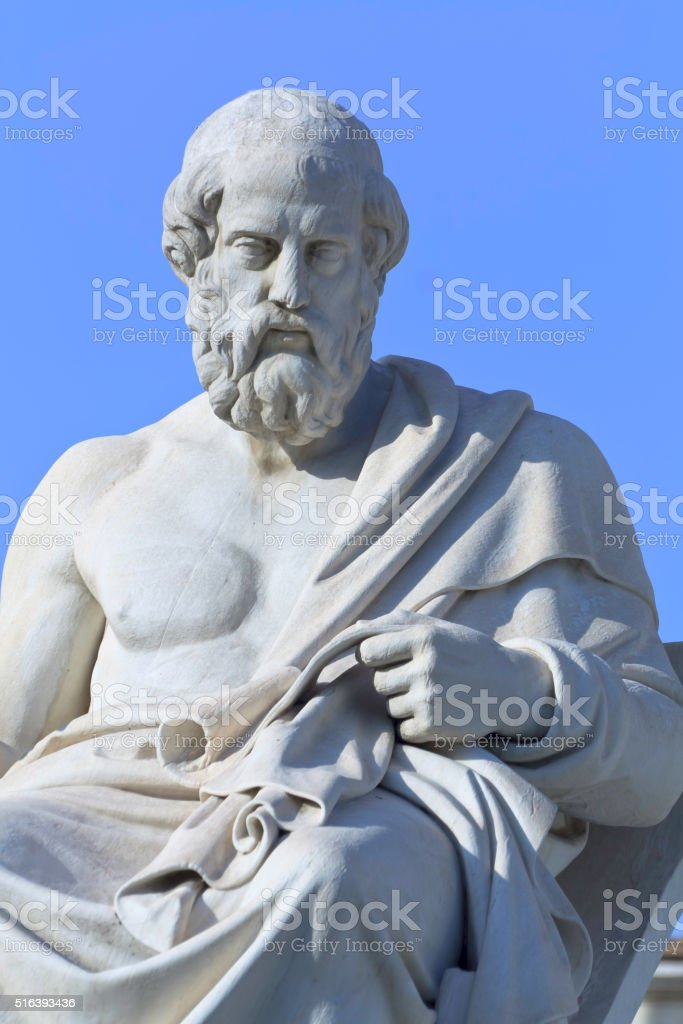 Greek philosopher Plato statue stock photo