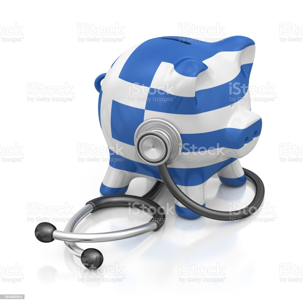 greek piggy bank and stethoscope stock photo