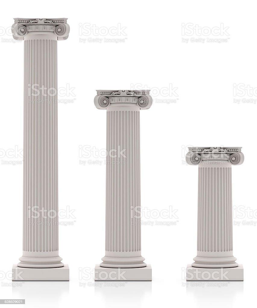 Greek Pillars three Size, Isolated on White Background stock photo