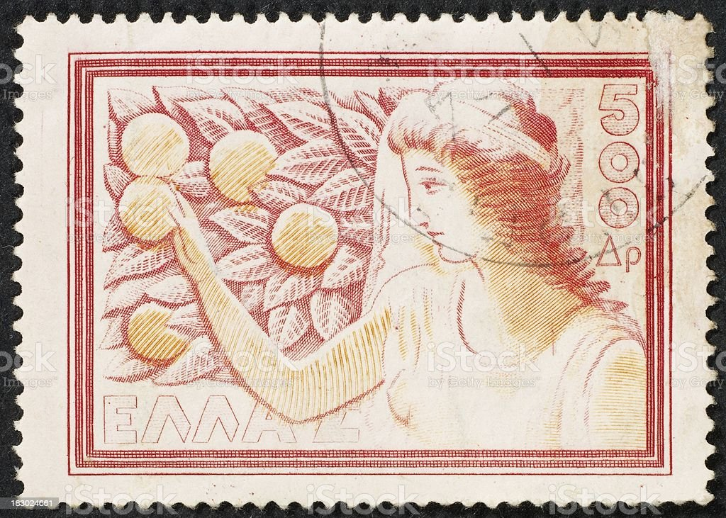 Greek postage stamp stock photo