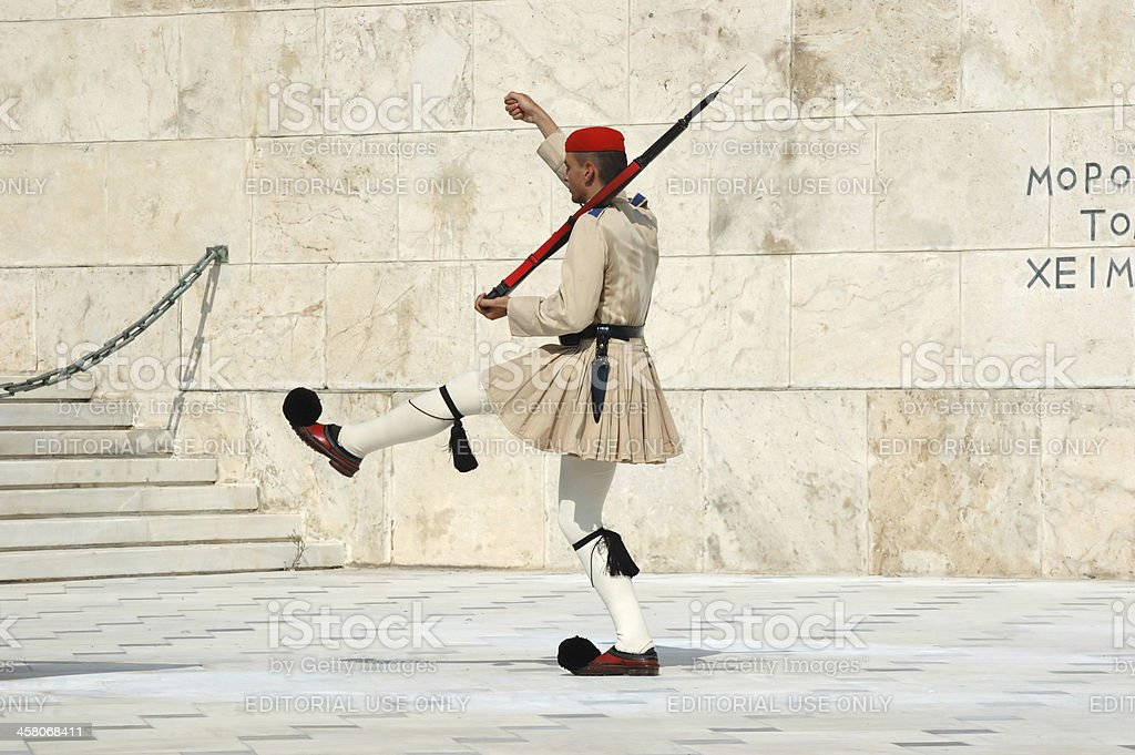 Greek Presidential guard change in front of Parliament,Athens,Greece royalty-free stock photo