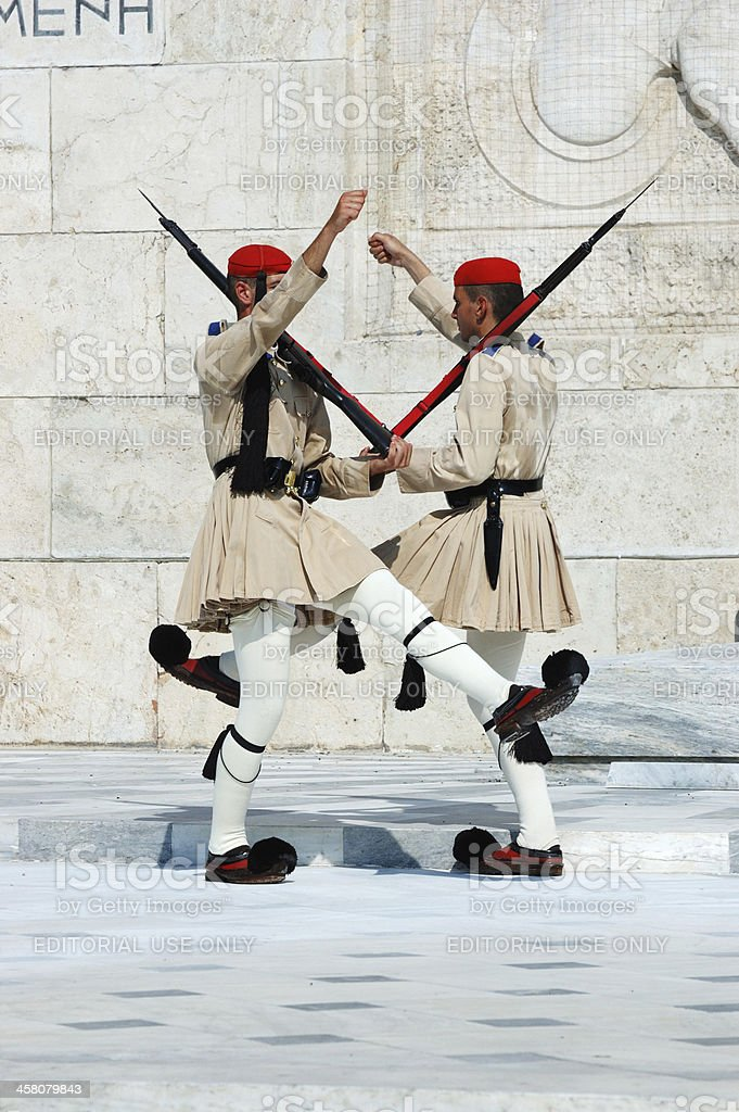 Greek Presidential guard change in front of Parliament,Athens,Greece stock photo