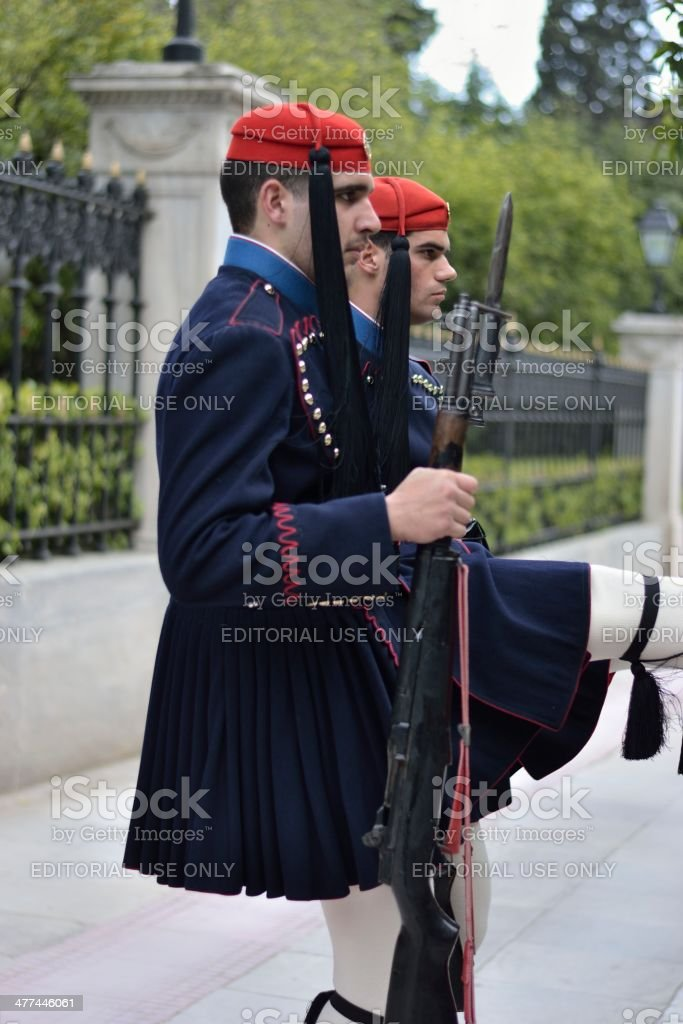 Greek presidential guard stock photo