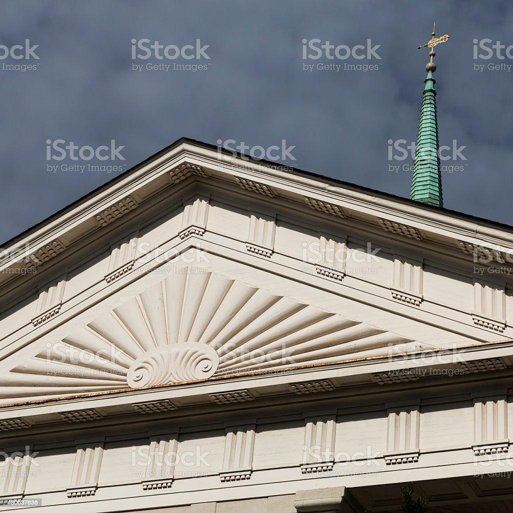 Greek Revival Pediment, Independent Presbyterian Church, Savannah Georgia stock photo