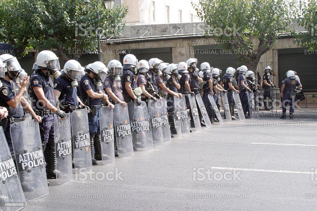 Greek Riot Police Blockade stock photo