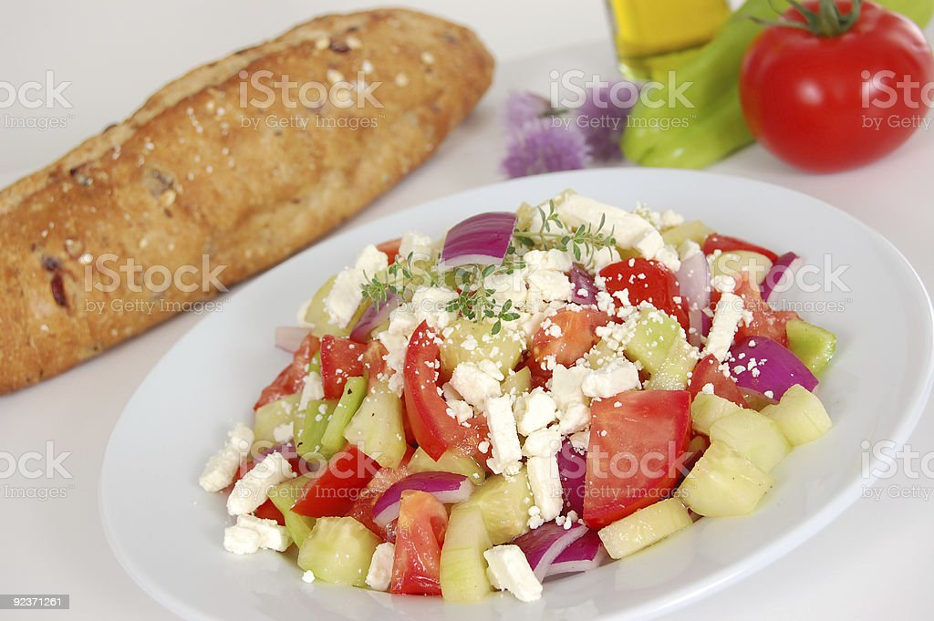 Greek salad and bread royalty-free stock photo