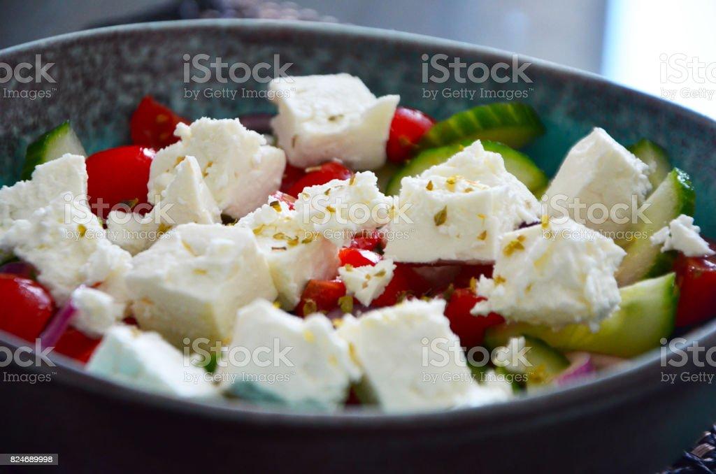 greek salad close up stock photo