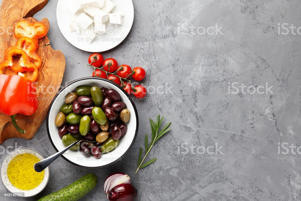 Greek salad cooking stock photo