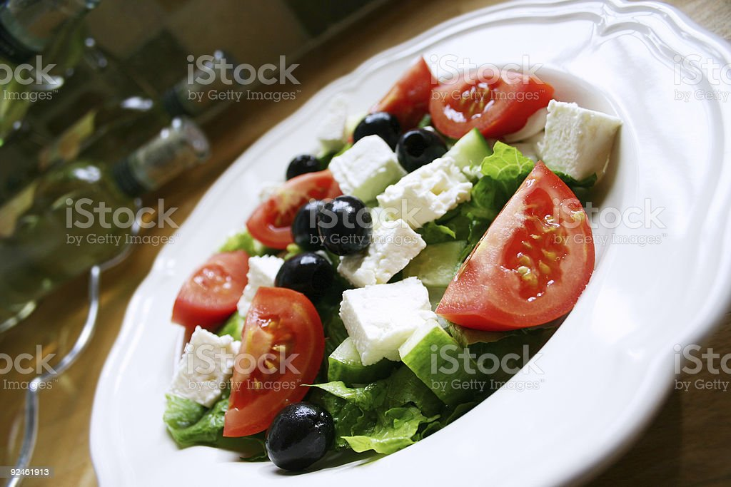 Greek Salad in Kitchen royalty-free stock photo