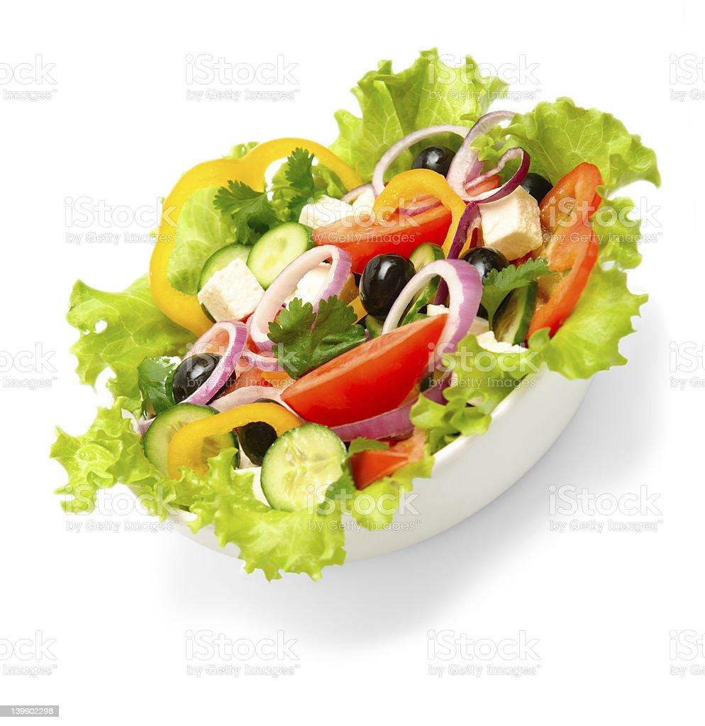 greek salad isolated on white background royalty-free stock photo