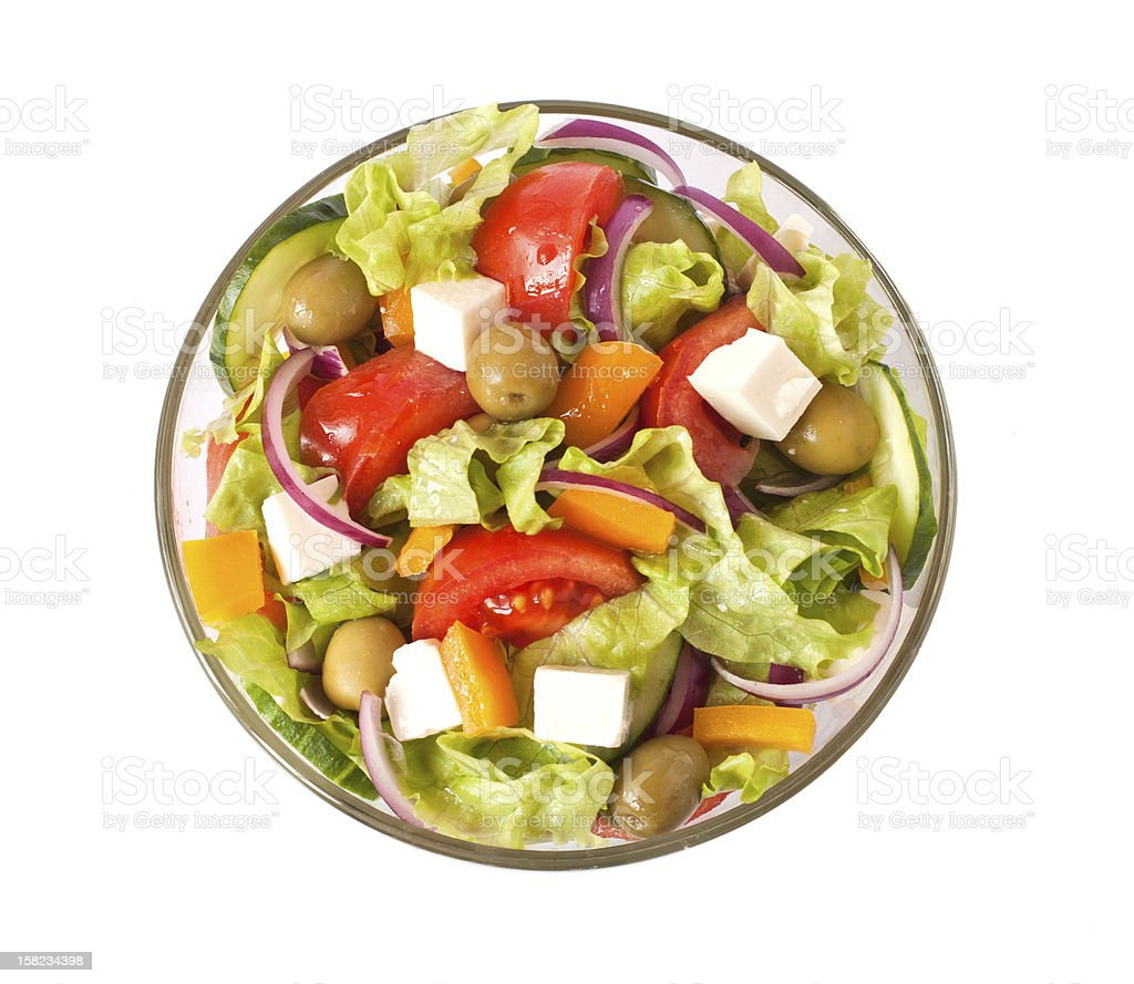 greek salad isolated on white royalty-free stock photo