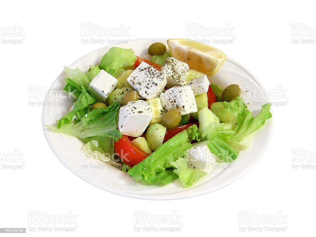 Greek salad - isolated royalty-free stock photo