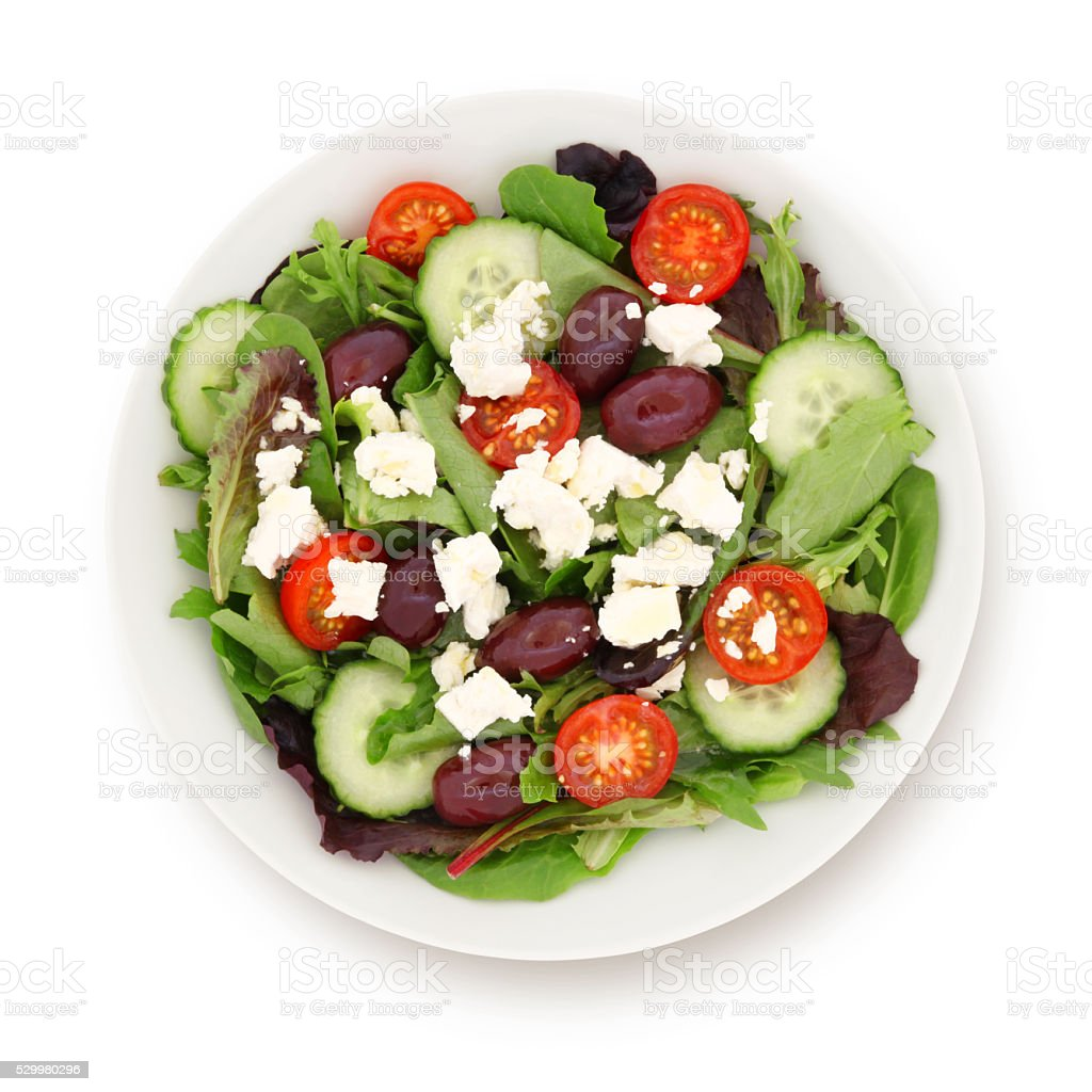 Greek Salad (with path) stock photo