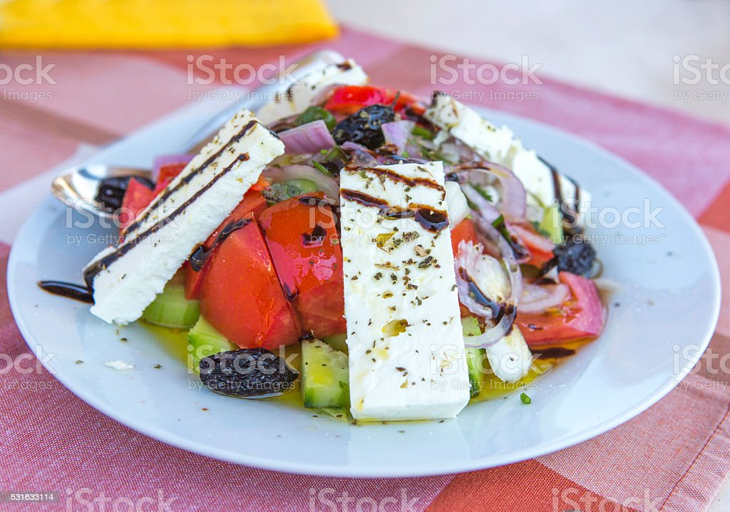 Greek salad plate as appetizer at thassos island kavala greece stock photo