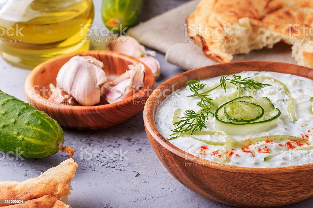 Greek salad tzatziki of cucumber, yogurt , garlic. stock photo