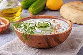 Greek salad tzatziki of cucumber, yogurt , garlic.