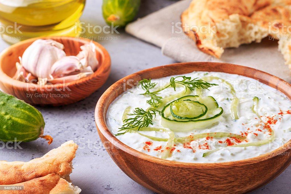 Greek salad tzatziki of cucumber, yogurt , olive oil, garlic. stock photo