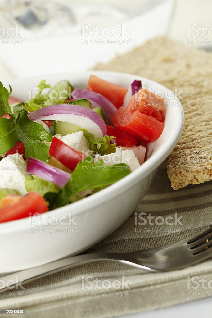 greek salad with bread royalty-free stock photo