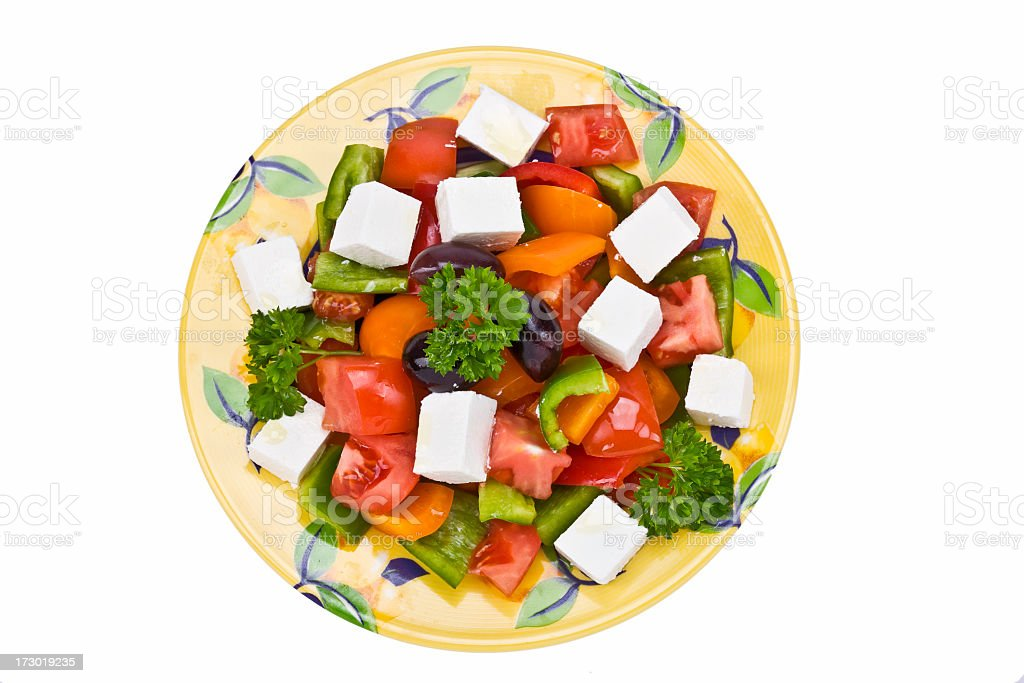 Greek Salad with Fetta Cheese stock photo