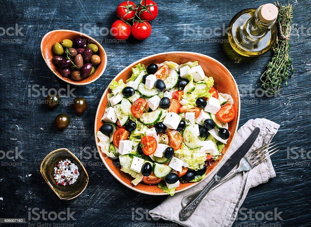 Greek salad with fresh vegetables stock photo