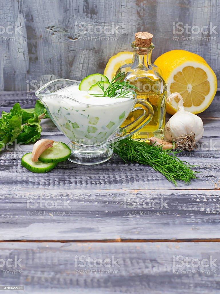 Greek sauce tzatziki and cucumber, mint, dill, garlic, lemon, oi stock photo