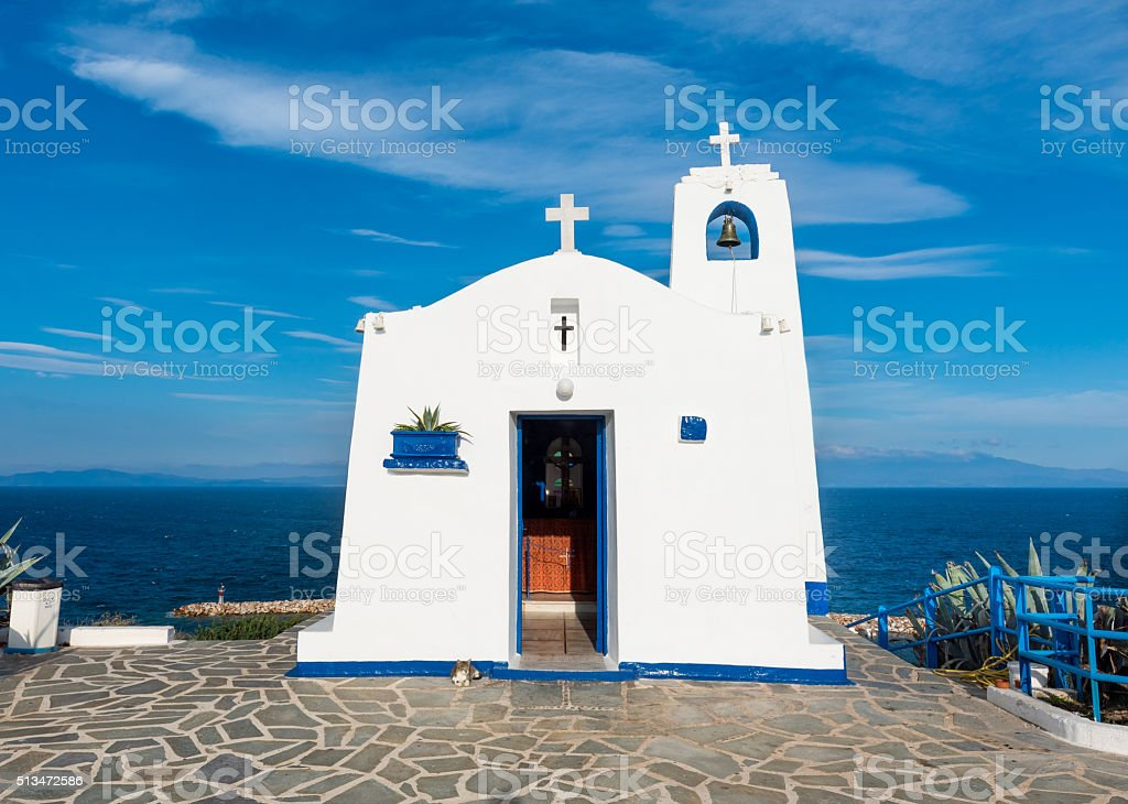 Greek small chapel stock photo