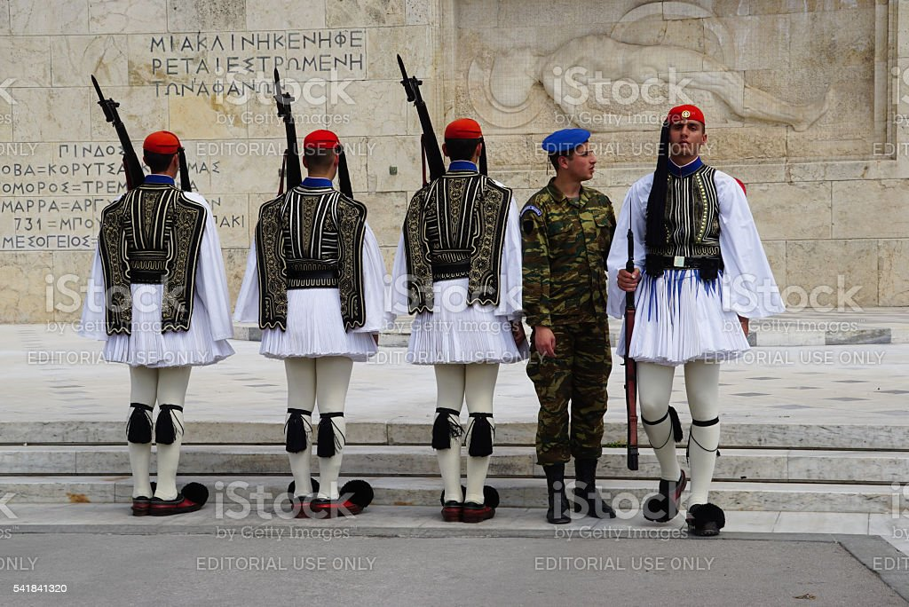 Greek soldiers are the guards at Greek parliament in Athens. stock photo