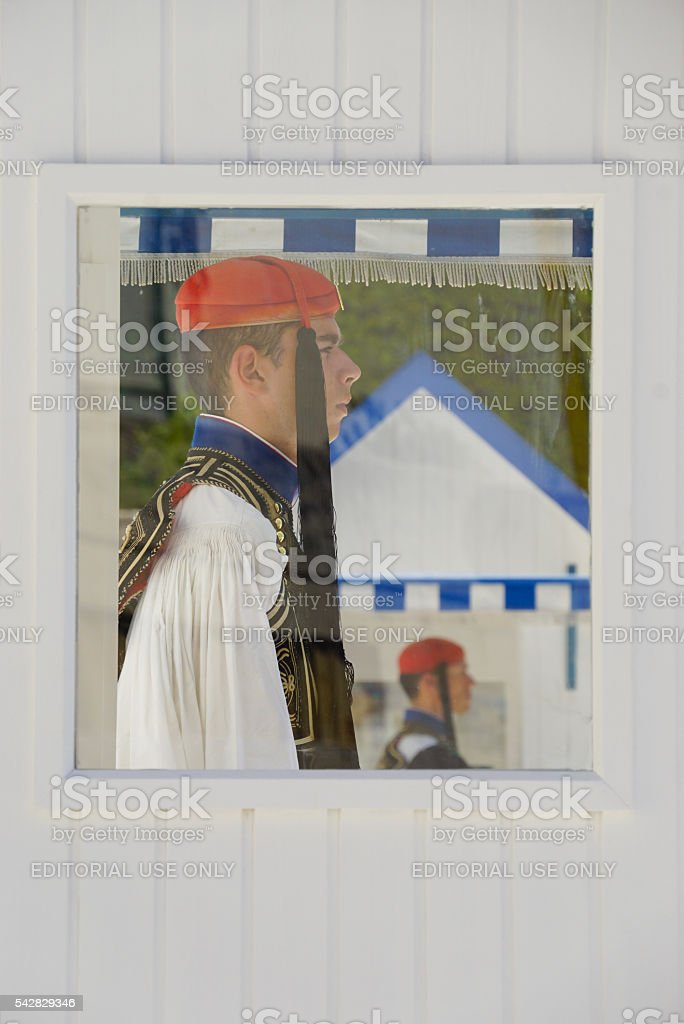Greek soldiers in the booth at Greek parliament in Athens. stock photo