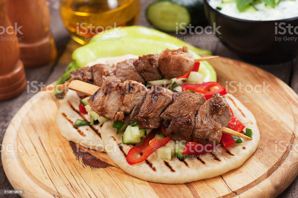 Greek souvlaki skewer stock photo