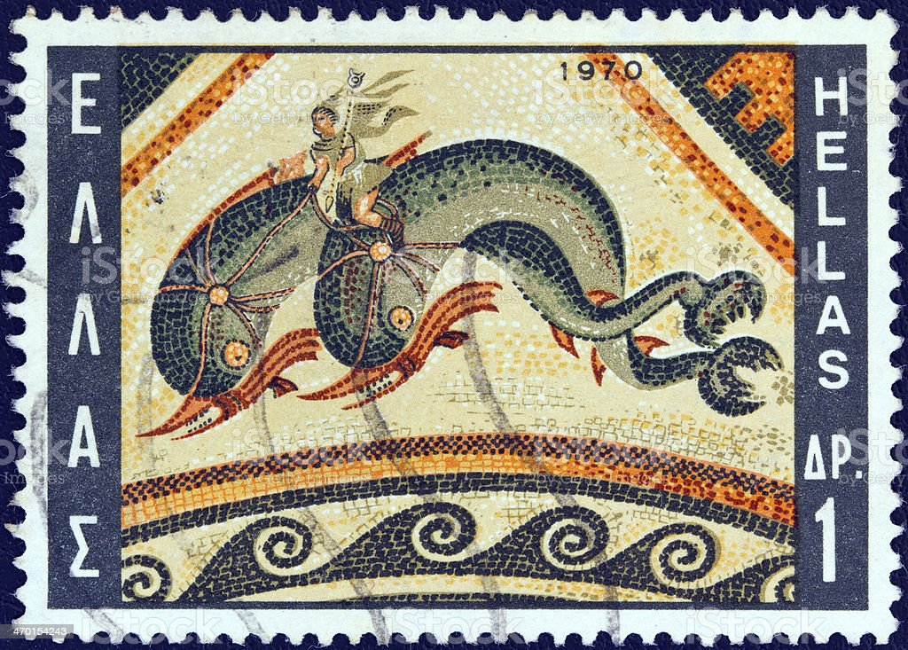 Greek stamp shows a Dolphin Mosaic, Delos island (1970) royalty-free stock photo