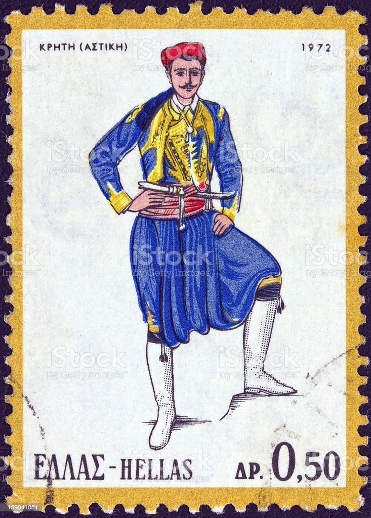 Greek stamp shows a man from Crete (1972) stock photo