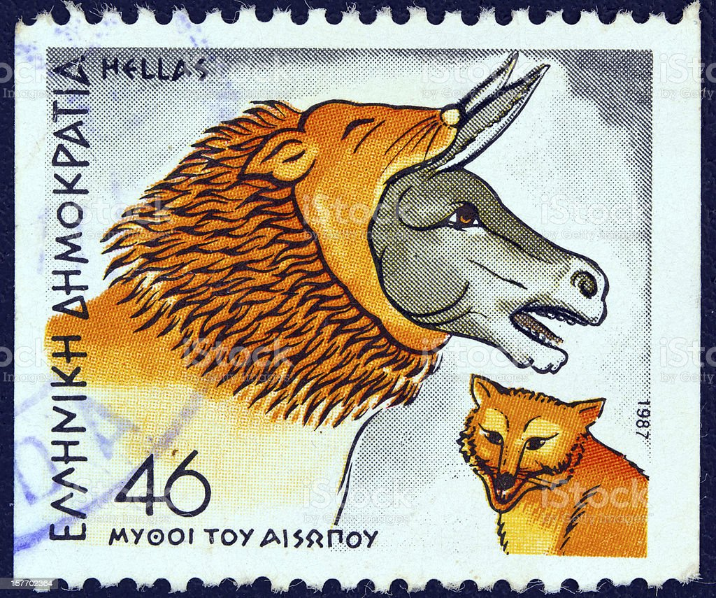 Greek stamp shows 'Ass in Lion's Skin and Fox' (1987) stock photo