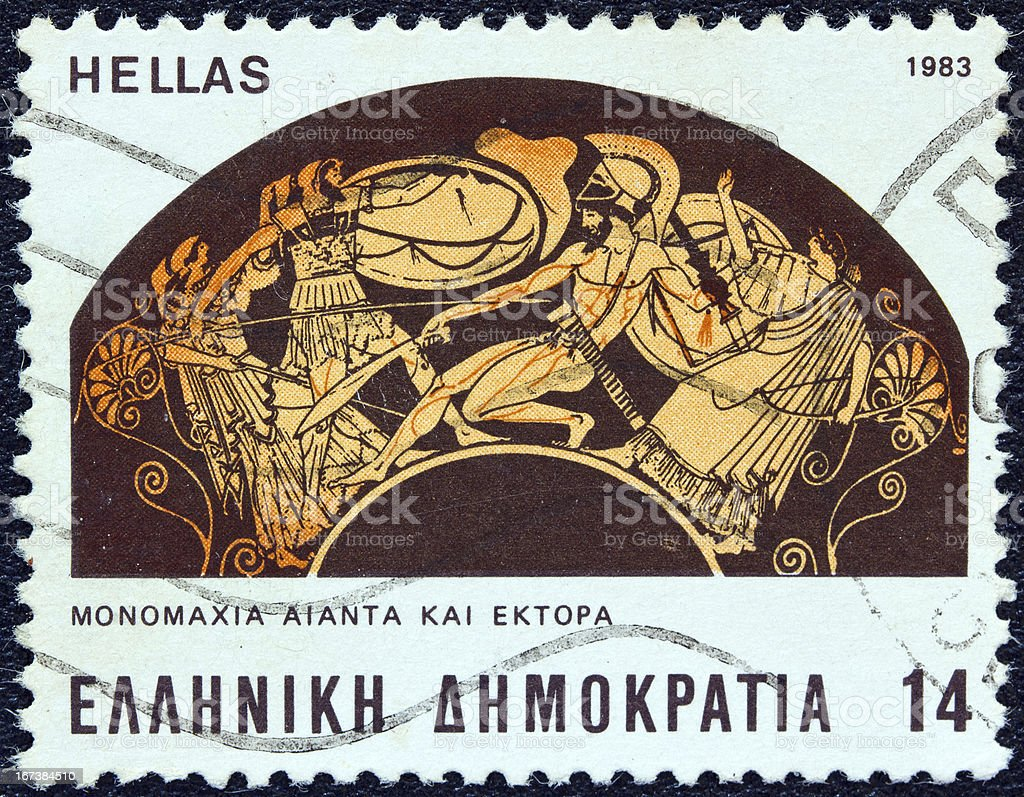 Greek stamp shows battle between Ajax and Hector (1983) royalty-free stock photo
