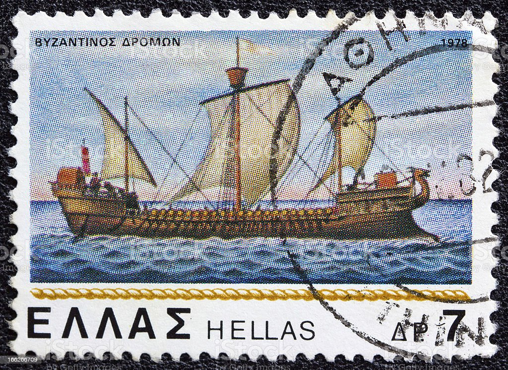 Greek stamp shows Byzantine dromon warship (1978) royalty-free stock photo