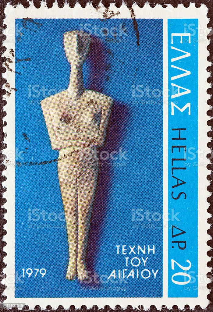 Greek stamp shows Cycladic Figure from Amorgos island (1979) royalty-free stock photo