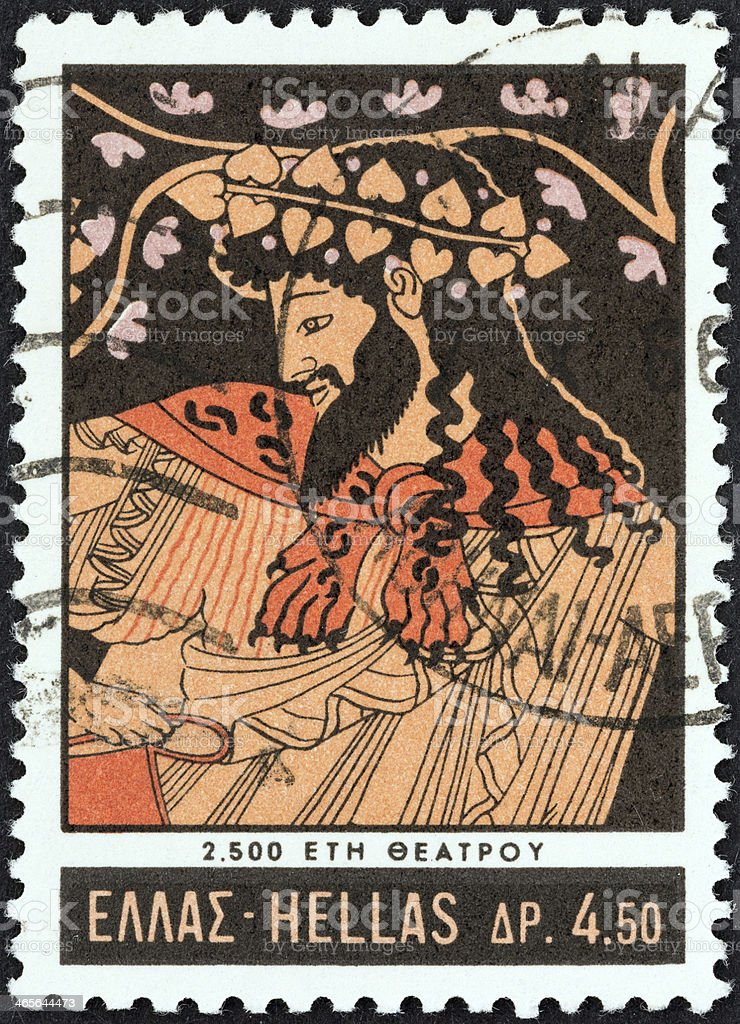 Greek stamp shows Dionysus dancing (vase 500 BC) (1966) stock photo