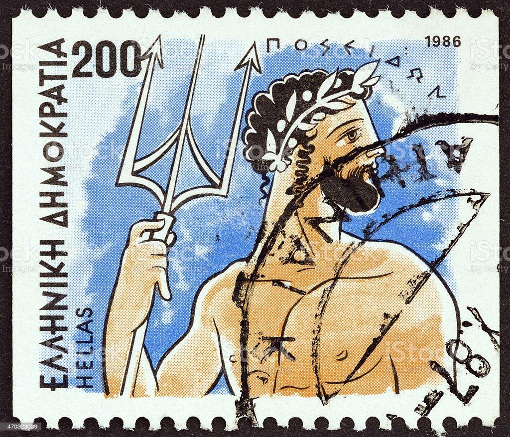 Greek stamp shows god Poseidon (1986) royalty-free stock photo