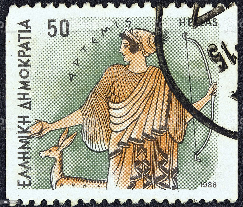 Greek stamp shows goddess Artemis (1986) stock photo